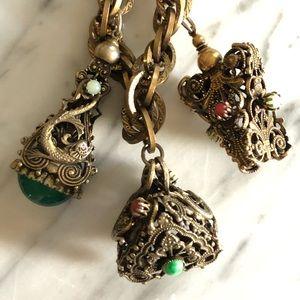 Vintage Semi-Precious Stone Serpent Charm Bracelet